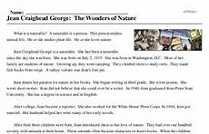 nature reading comprehension worksheets 15108 jean craighead george the wonders of nature reading comprehension worksheet edhelper