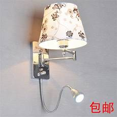 with switch led reading wall l modern brief fashion wall light fabric bedside l rocker arm