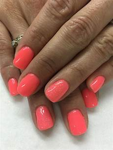 bright summer coral with baby sparkles gel nails sparkle