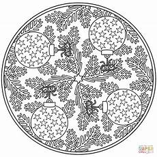 Malvorlagen Mandala Weihnachten Mandala With Baubles Coloring Page Free
