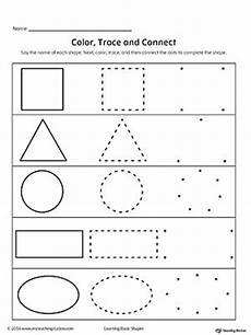 drawing shapes worksheets 1081 learning basic shapes color trace and connect shapes worksheets learning shapes tracing