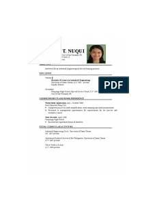 sle resume for ojt student information technology