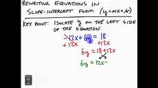 rewriting equations in slope intercept form youtube