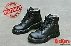 jual sepatu kickers safety boot kulit asli sapi warna hitam dan coklat sepatu sneakers santai