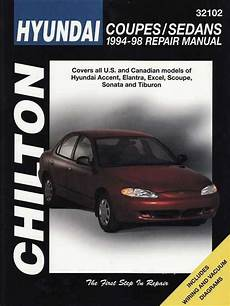 hyundai accent elantra excel scoupe sonata 1994 1998 workshop manual