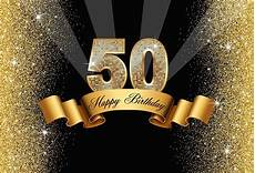 5x7ft Vinyl 50th Happy Birthday Black by Sparkly Gold 50th Happy Birthday Black Backdrops Vinyl