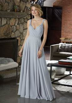 figure flattering chiffon bridesmaid dress with beaded detail style 21588 morilee