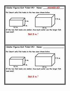 similar figures volume word problem exit ticket by jessica eaton