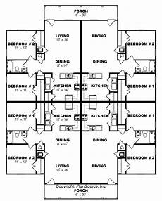 4 plex house plans apartment plan j0124 13 4b 4plex plansource inc