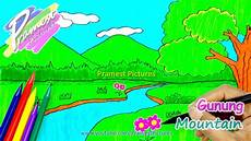 Gunung Cara Menggambar Dan Mewarnai Gambar Pemandangan