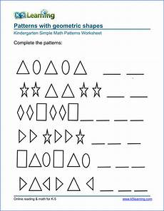 math worksheets on patterns for kindergarten 339 free preschool kindergarten pattern worksheets printable k5 learning