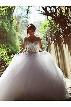 Gown Wedding Dress With Crystals sleeves sheer wedding dresses bridal gowns