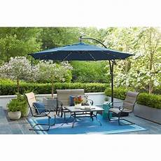 hton bay 11 ft aluminum cantilever solar led offset outdoor patio umbrella in midnight navy