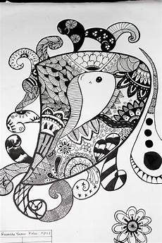 Ganesha Motif Garis Huruf Doodle