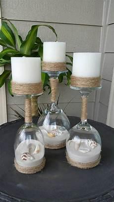 Gläser Dekorieren Mit Sand - seashell and sand wine glass candle holders set of 3