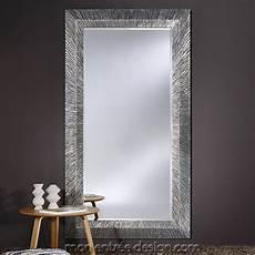 miroir design grand miroir rectangulaire groove silver