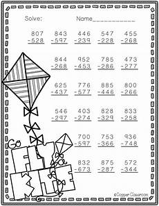 3 digit subtraction worksheets for 3rd grade 10570 free 3 nbt 2 themed 3 digit subtraction with regrouping teaching math second grade