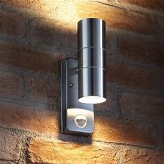 auraglow pir motion sensor stainless steel up down outdoor wall security light ebay