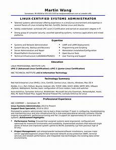 sle resume for a midlevel systems administrator
