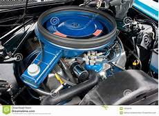 1971 Ford Mustang 8 Cylinder Engine 351c Stock Photo