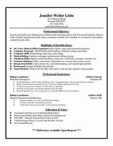 medical biller resume sle sle resume