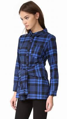 Kariertes Hemd Englisch - factory plaid tie waist shirt in blue lyst