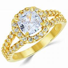 14k solid yellow gold cz cubic zirconia solitaire engagement ring 1 5 ct ebay