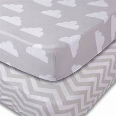 crib sheets 2 unisex clouds and chevron fitted soft jersey cotton bedding ebay