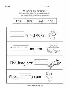 learn to read and write short words in sentences activity