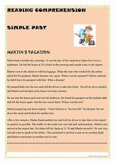 comprehension worksheets 15452 simple past reading comprehension worksheet free esl printable worksheets made by teachers