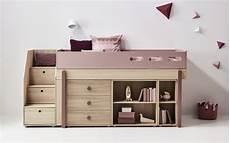 halbhohes bett mit stauraum flexa popsicle bookcase interismo uk