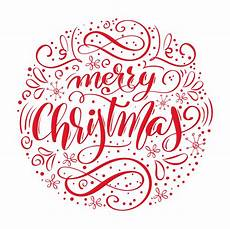 merry christmas handwritten text drawn calligraphy and lettering in form of circle vector
