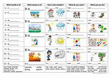 months and seasons activities worksheets 14767 months seasons weather clothes and activities fichas de trabalho ingles para criancas aulas