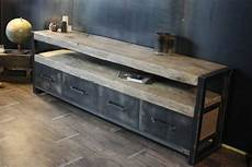 meuble bois brut design buffet bois brut industriel 4 tiroirs micheli design