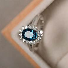london blue topaz ring sterling silver blue gemstone promise ring engagement ring oval cut
