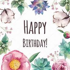 watercolor floral happy birthday card stock vector