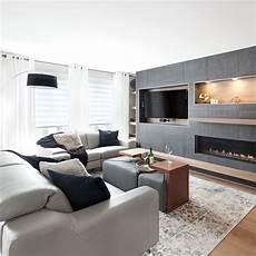 Salon Moderne Gris Cosy Et Bois Chaud Je D 233