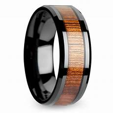 koa inlay men s beveled ring in black ceramic 8mm