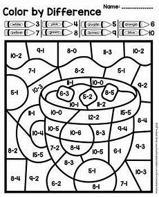 winter worksheets elementary 19988 color by number sum and difference winter addition subtraction practice school colorear
