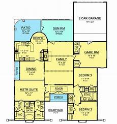 hacienda house plans three bedroom hacienda house plan 36367tx