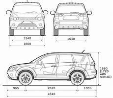 Mitsubishi Outlander Abmessungen - 2008 mitsubishi outlander suv blueprints free outlines
