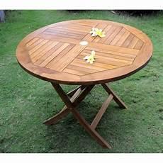 Table De Jardin Pliante En Teck Huil 233 Diametre 100 Cm
