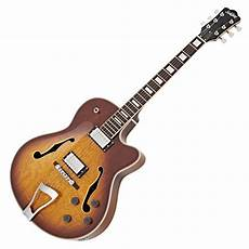jazz guitars disc subzero new orleans semi acoustic jazz guitar sunburst at gear4music