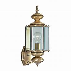 shop livex lighting basics 17 in h brass outdoor wall light at lowes com