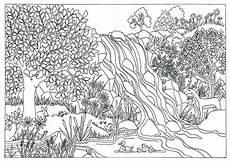 items similar to printable waterfall nature scene coloring