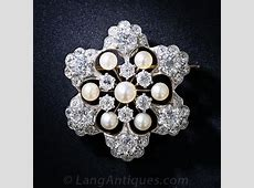 Antique Diamond and Natural Pearl Snowflake Brooch and Pendant
