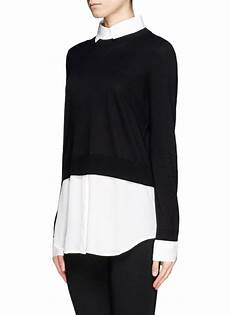 blouse and sweater combo lyst sandro seul combo shirt sweater in black