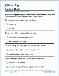 grade 1 vocabulary worksheet use of context clues k5 learning