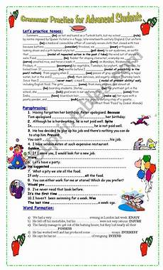 grammar practice for advanced students esl worksheet by pacchy