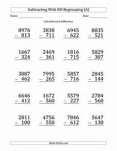 addition of 4 digit numbers with regrouping worksheets 9171 large print 4 digit minus 3 digit subtraction with no regrouping a